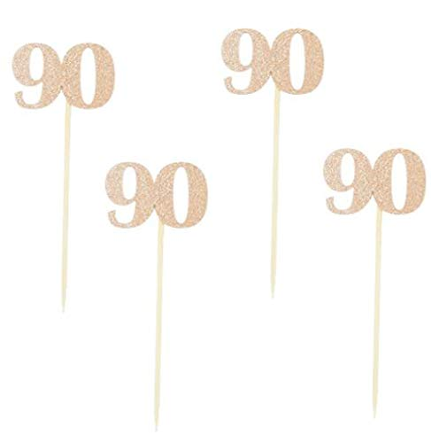 Rose Gold Glitter 90th Birthday Party Cupcake Toppers