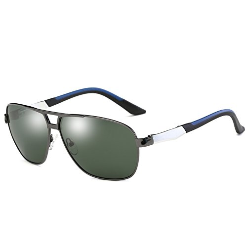 gafas Plata clásico de sol TIANLIANG04 gafas Anti de polarizadas Vintage sol de Abbagliamento UV400 Grey de masculino Gafas Green guía sol Rectángulo gafas HD Negro Mens metal qzPq6pg
