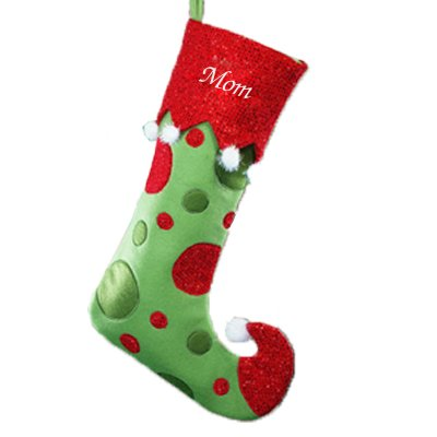 Embroidered Green Personalized Christmas Stockings - GiftsForYouNow Polka Dot Personalized Christmas Stocking, 21