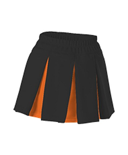 Alleson GIRLS CHEERLEADING MULTI PLEAT SKIRT BLACK, ORANGE M C201MY C201MY-BKOR-M Pleat Cheer Skirt