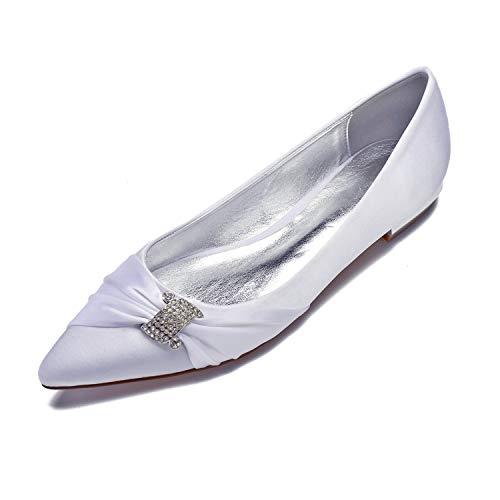 Flats Satin Toe Pointed Womens White Ballerinas Pleated MarHermoso PzYq1x