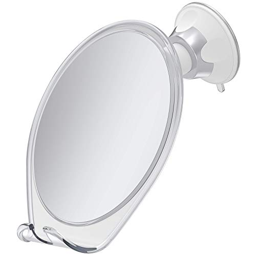 (HoneyBull Shower Mirror (Anti-Fog) Fogless Mirror with Suction Cup and Swivel | Shaving Mirror with Razor Hook - White)