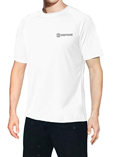 Pretchic Men's UV Protection Performance Short Sleeve Outdoor T Shirt White XXL