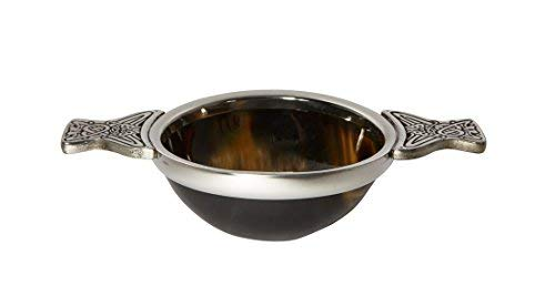Wentworth Pewter - Medium Horn and Pewter Quaich Whisky Tasting Bowl Loving Cup Burns Night