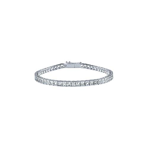 Princess Cut Half Channel Set Diamond Tennis Bracelet in Platinum 3 CT TDW - April Birthstone ()
