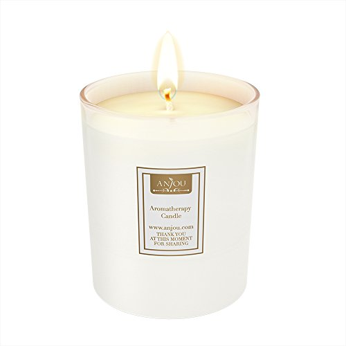- Anjou Scented Candle, Sweet Sour Fruity Smell, 7 oz Glass Jar Stress Relief, Made from 100 Percent Natural Soy Wax Cotton Wick, Ideal Romantic Gift Men Women, Christmas Decor