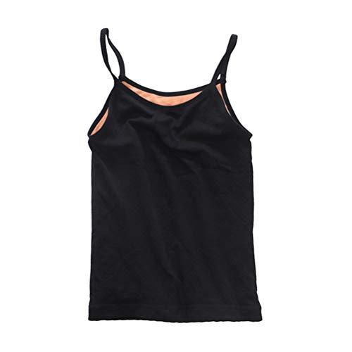FENICAL Ropa interior térmica Terciopelo Engrosamiento Sin costura Twist Sling Chaleco Camisa de fondo Tamaño libre (Negro)
