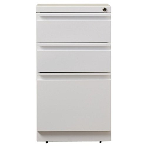 Hirsh 20 in Deep 3 Drawer Mobile File Cabinet in White