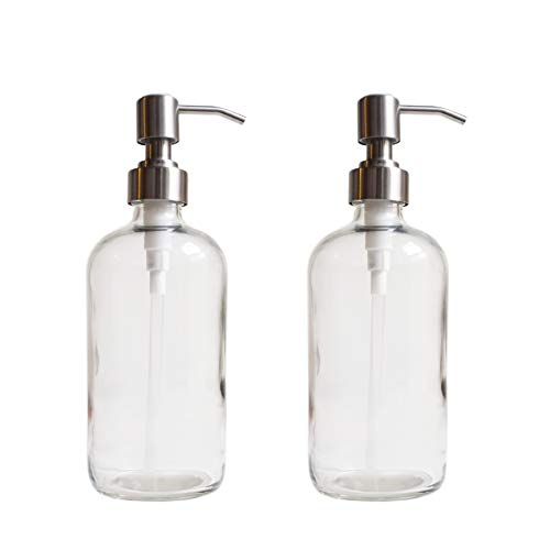 Home Soap Dispenser - 11216 Home Goods 17.5-Ounce Clear Glass Dispenser Bottles with Stainless Steel Pumps (2 Pack) for Liquid Soap, Lotion, Shampoo, Essential Oils, and More by