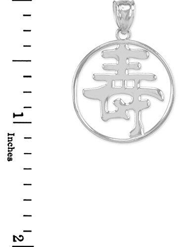 Breloques porte-bonheur pour femme fine Or blanc 14K des caractères chinois Charm Kanji Longévité Symbole Pendentif médaillon ouvert