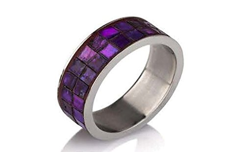 Stainless Steel Rings for Women & Men Two Rows of Square Amethyst Stones Fashion Ring (9) ()