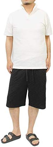 ショートパンツ メンズ 大きいサイズ 薄手 スウェット ブロックチェック 刺繍 プリント 膝下 ハーフパンツ