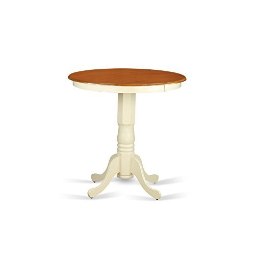East West Furniture EDT-WHI-TP Eden Round Counter Height Table, Linen White Finish