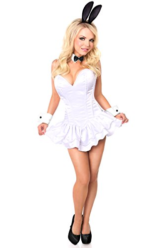 Daisy Corsets Women's Top Drawer Innocent Bunny Costume, White, X-Large