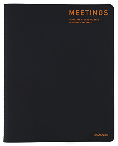 AT-A-GLANCE Wirebound Meeting Planner, 8.75 x 11 Inch Sheet Size, 80 Sheets, Black (YP214-05)