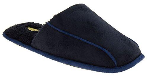 Hombre Coolers zapatillas acolchadas traseras acolchadas de la mula del ante del faux Azul