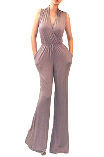 Sleeveless Wrap Top Rayon - Vivicastle Women's USA Sexy Wrap Top Wide Leg Sleeveless Cocktail Knit Jumpsuit (Small, Taupe)