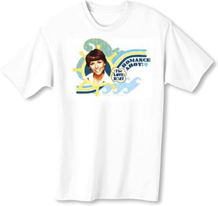 The Love Boat Julie ROMANCE AHOY Adult White T-shirt Tee Shirt, XL
