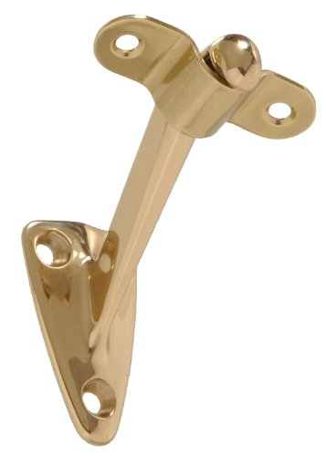 The Hillman Group 851537 Solid Brass Handrail Bracket Heavy Duty, Bright, Brass Finish