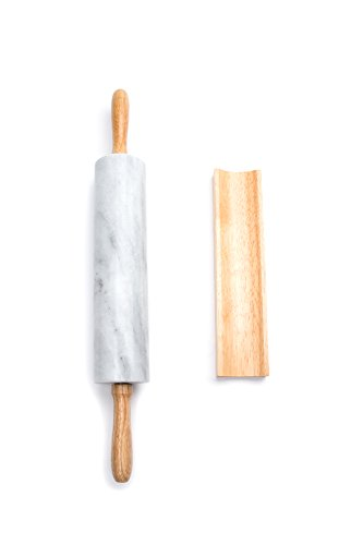 Fox Run Polished Marble Rolling Pin with Wooden Cradle, 10-Inch Barrel, White