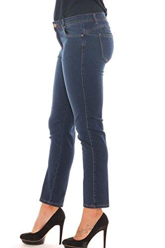 Chiara Dalba Jeans Skinny Donna in Denim Super Stretch Taglia Morbida Blu Scuro