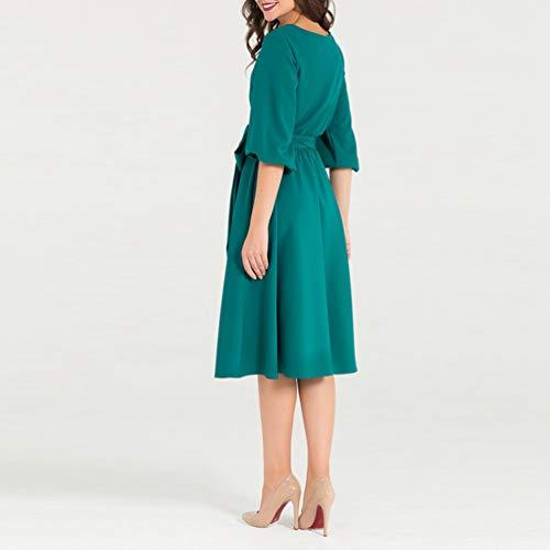 Cinturón Elegante Casual Precioso Verde Vestido Fiesta Mujer Noche Vestido Midi Xinwcang para para con R5w7Txxq