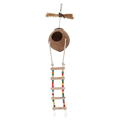 MagiDeal Handmake Natural Pet Parrot Toy Natural Coconut Shell Bird Nest House - #2 by Unknown (Image #8)