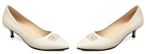 Idifu Donna Elegante Punta A Punta Slip On Mid Kitten Tacchi Pumps Shoes Albicocca