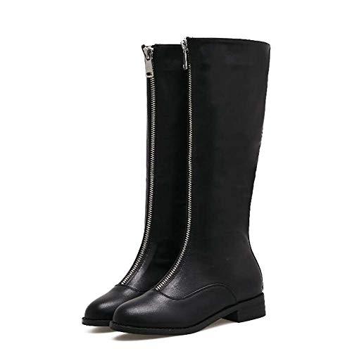 Botas De Tacón Alto Tacon Botas De Moto Botas De Mujer con Cremallera Martin Botas Guapos Zapatos De Vestir UE Tamaño 35-40 Black