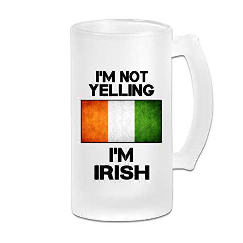 Not Yelling I'm Irish Beer Mug Frosted Glass Stein Mug Cup For Carnival Bachelor Party Beer Festival Mug - Im Irish Stein