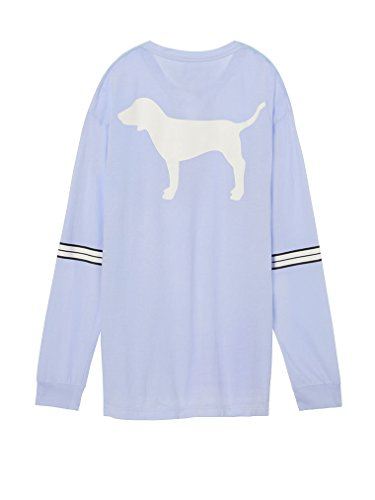 Victoria's Secret Pink Lace Up V- Neck Dog Logo Campus Tee X-Small Light Blue