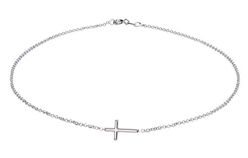 First Communion Cross Necklace - Sterling Silver Sideways Horizontal Cross Necklace for Girls First Communion Gift, 14 inch
