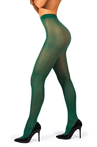 - sofsy Opaque Microfibre Tights for Women - Invisibly Reinforced Opaque Brief Pantyhose 40Den [Made In Italy] Forest Green 2 - Small