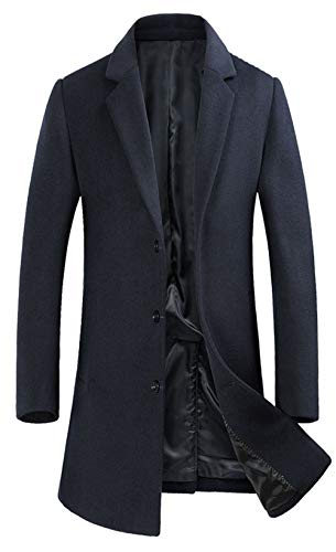 ELETOP Men's Lapel Wool Coats Single Breasted Trench Coat Windbreaker Jacket 1889 Navy L - Wool Windbreaker