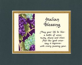 Italian Blessing Matted Wall Sign Keepsake Poem Gift