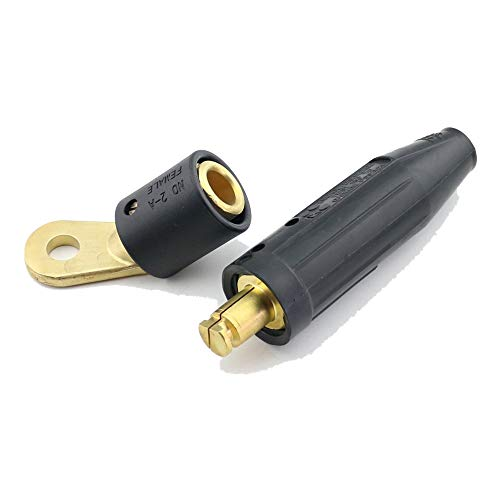 (WeldingCity Welding Cable Twist-Lock Male Connector 191981 and Female Terminal Adapter 218678 Tweco/Lenco Style for AWG 1/0-2/0 (50-70mm) for Miller Welders)