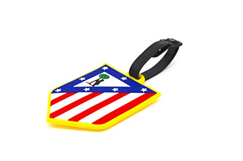 fan products of CellDesigns Set of 2 Soccer Team Football Club Luggage Tag Suitcase ID Tag with Adjustable Strap (Atlético Madrid)