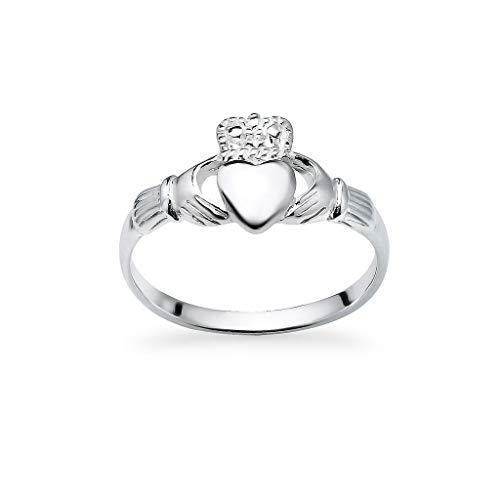(925 Sterling Silver Irish Claddagh Crown Love Heart Band | Celtic Friendship Promise Ring Size 6)