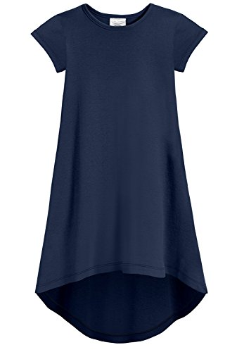City Threads Girls Jersey Short Sleeve Hi Lo Maxi Dress Top Blouse Shirt Stylish Modern All Cotton for Sensitive Skins, Navy, -