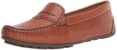 Driver Club USA Women's Leather Unique Penny Detail Driving Loafer