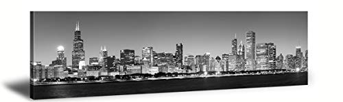 JiazuGo-Canvas Print Wall Art Painting For Home Decor Black & White Panoramic Cities Chicago 1 City 14