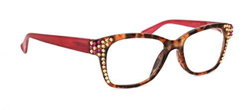 Madison Square, Bling Women Reading Glasses with Swarovski Crystals +1.50, 2.00, 2.50, 3.00 Tortoise shell and Pink (Wide Frame) Optical Frame.