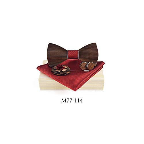 - 3D Wooden Bow Tie Men's Wedding Bowties With Wood Box Cufflinks Brooch For Men Accessory,A