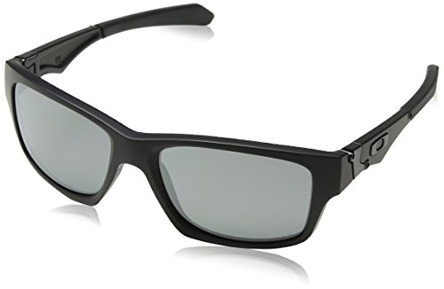 Oakley Men's OO9135 Jupiter Squared Rectangular Sunglasses, Matte Black/Black Iridium Polarized, 56 mm