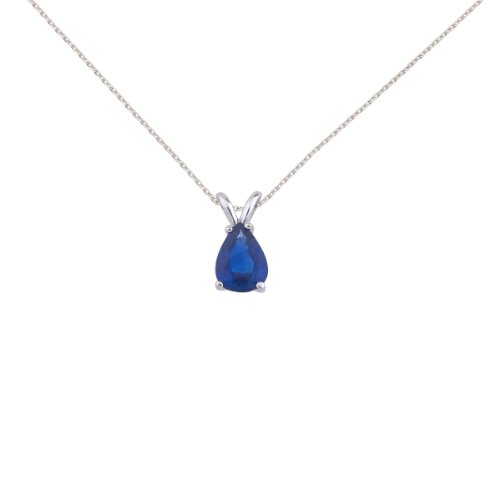 14k White Gold Pear Shaped Sapphire Pendant with 18″ Chain and Gift Box