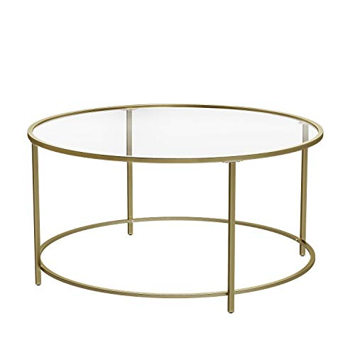 VASAGLE Round Coffee Table, Glass Table with Golden Iron Frame, Living Room Table, Sofa Table, Robust Tempered Glass, Stable, Decorative, Gold ULGT21G