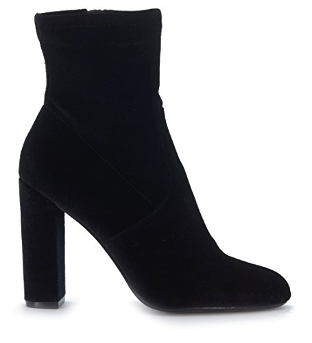 Steve Madden Editt, Zapatos de Tacón con Punta Cerrada para Mujer, Steve Madden Editt Blush Velvet, 35 EU Negro (Black Velvet)