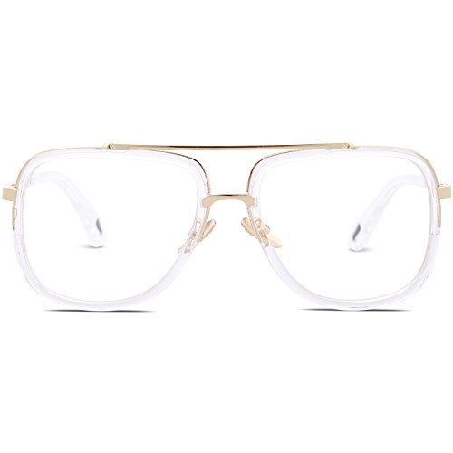 56aabe265f SojoS Classic Square Aviator Sunglasses Oversized Double Bar Metal Frame  SJ1080 C8 Clear Frame Clear ...