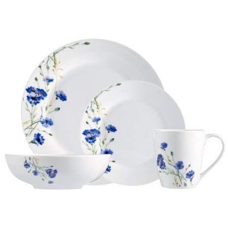 Dishwasher & Microware Safe,Chip Resistant,Stackable,Lighweight 16-Piece Dinnerware Set,White,Garden,Adds a Touch of Charm to Your Hearty Dinner Feasts and Seasonal Soirees (Seasonal Dinnerware)