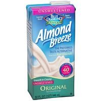 Blue Diamond Original Almond Breeze Unsweetened ( 12x32 OZ) (Blue Diamond Reduced Sugar Vanilla Almond Milk)